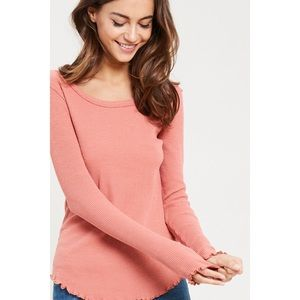 Poppy Frill Hem Thermal Knit Top